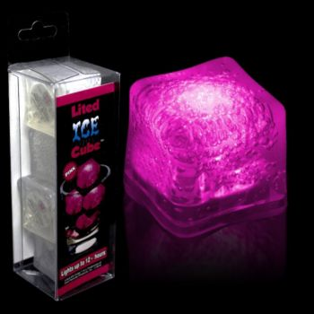 Pink LED Lited Ice Cubes - 4 Pack