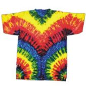 Adult Tye Dye T-Shirt In Primary Colors With Zipper Pattern