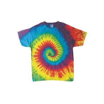 Child Size Tye Dye T-Shirt in Primary Colors Cyclone Pattern