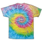 Child Size Pastel Tie Dye T-Shirt With Hippie Pattern