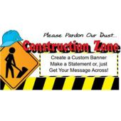 Hard Hat Construction Zone Custom Banner