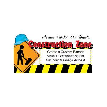 Hard Hat Construction Zone Custom Vinyl Banners