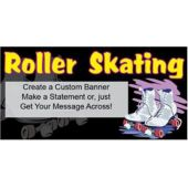 Roller Skating White Skates Custom Message Vinyl Banner