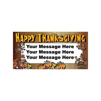 Happy Thanksgiving Custom Message Vinyl Banners
