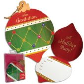 Ornament Shaped Glitter Holiday Christmas Party Invitations