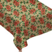 Poinsettia Print Vinyl Table Covers Holiday Paper Goods