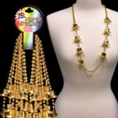 Gold Top Hat Bead Necklaces - 36 Inch, 12 Pack