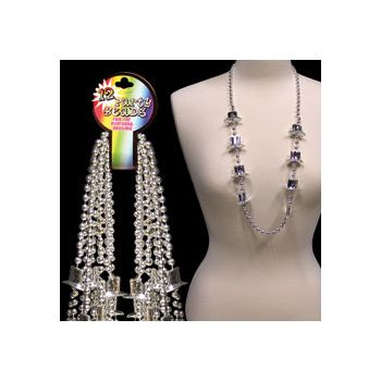 Silver Top Hat Bead Necklaces - 36 Inch, 12 Pack