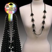 Black Top Hat Bead Necklaces - 36 Inch, 12 Pack