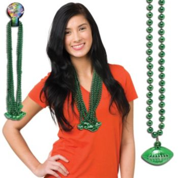 Green Football Bead Necklaces - 33 Inch, 12 Pack