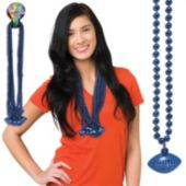 Blue Football Bead Necklaces - 33 Inch, 12 Pack