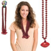 Red Football Bead Necklaces - 33 Inch, 12 Pack