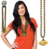 Gold Football Bead Necklaces - 33 Inch, 12 Pack
