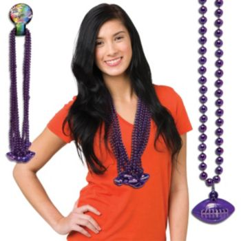 Purple Football Bead Necklaces - 33 Inch, 12 Pack