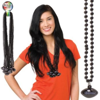 Black Football Bead Necklaces - 33 Inch, 12 Pack