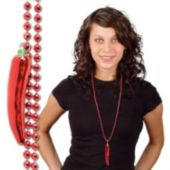 Red Chili Pepper Bead Necklaces - 33 Inch, 12 Pack