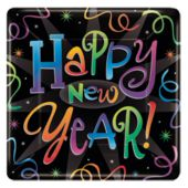 New Year Countdown Party 10 Inch Square Paper Plates