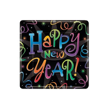 "NEW YEAR'S COUNTDOWN  10"" SQUARE PLATES"