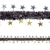Gold And Silver Tinsel Garland Decoration Trimmed With Stars