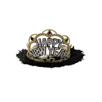 Happy New Year Tiara   in Black Marabou Trim