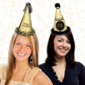 Midnight Celebration Glitter Cone Hats