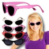 50's Studded Cat Eye Sunglasses In Assorted Colors - 12 Pack