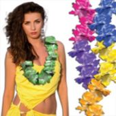 Pastel Silk Flower Leis Assorted