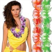 Silk Flower Neon Leis Assorted - 12 Pack