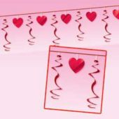 Valentine Hearts Garland With Hearts And Swirl Dangler