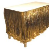 Gold Metallic Fringed Table Skirt