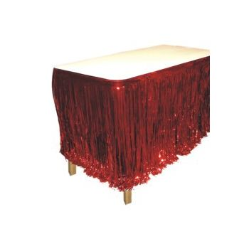 RED METALLIC   FRINGED TABLE SKIRT