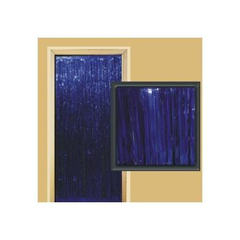 BLUE METALLIC   FRINGED DOOR CURTAIN