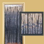3 Foot By 8 Foot Silver Metallic Fringed Door Curtain