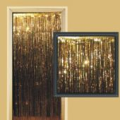 3 Foot By 8 Foot Gold Metallic Fringed Door Curtain