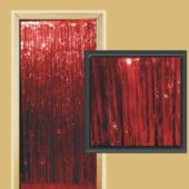 3 Foot By 8 Foot Red Metallic Fringed Door Curtain