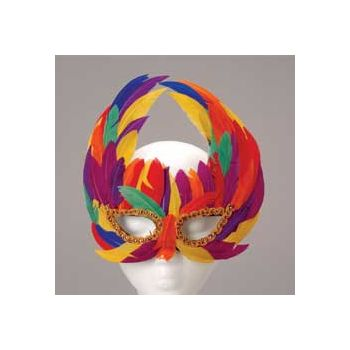 RAINBOW FEATHERED MASK