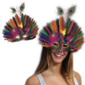 Purple Green And Gold Mardi Gras Feather Peacock Mask
