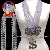 Dollar Sign Bead Necklaces - 33 Inch, 12 Pack