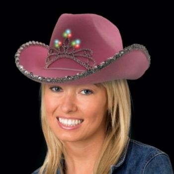 Flashing Pink LED Cowboy Hat