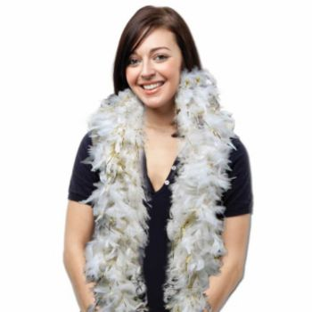 White Feather Boa with Gold Tinsel - 6 Foot