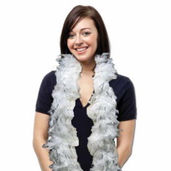 White Feather Boa with Silver Tinsel - 6 Foot