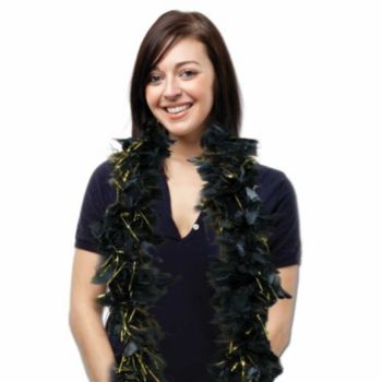 BLACK FEATHER 6' BOA   WITH GOLD TINSEL