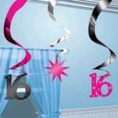 Sweet 16 Hanging Swirls-5 Pack