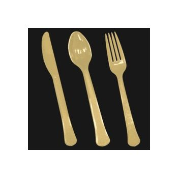 gold Plastic Forks Knives and Spoons