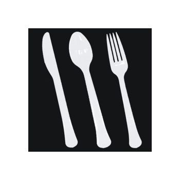 White Plastic Forks Knives and Spoons