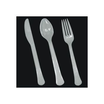 Silver Plastic Forks Knives and Spoons