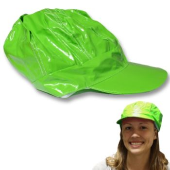 Neon Green Vinyl Newsboy Hat