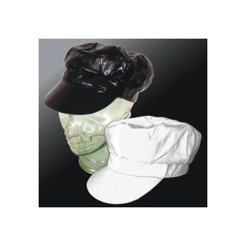 Black and White Vinyl Newsboy Hats - 12 Pack