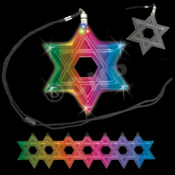 Color Changing Star of David LED Necklace - 12 Pack