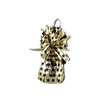 GOLD & BLACK STAR   BALLOON WEIGHT